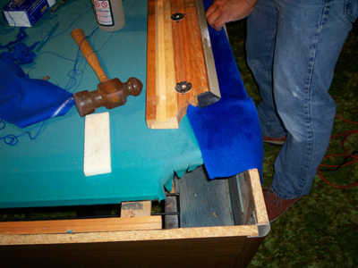 side pockets of the pool table