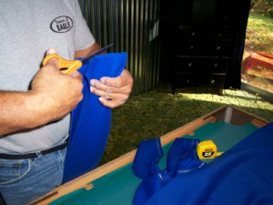 Cutting felt for recovering pool table cushions